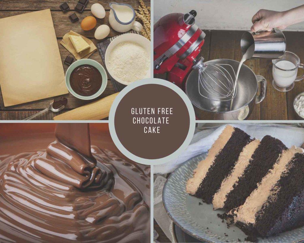 Gluten Free Chocolate Cake Process Collage