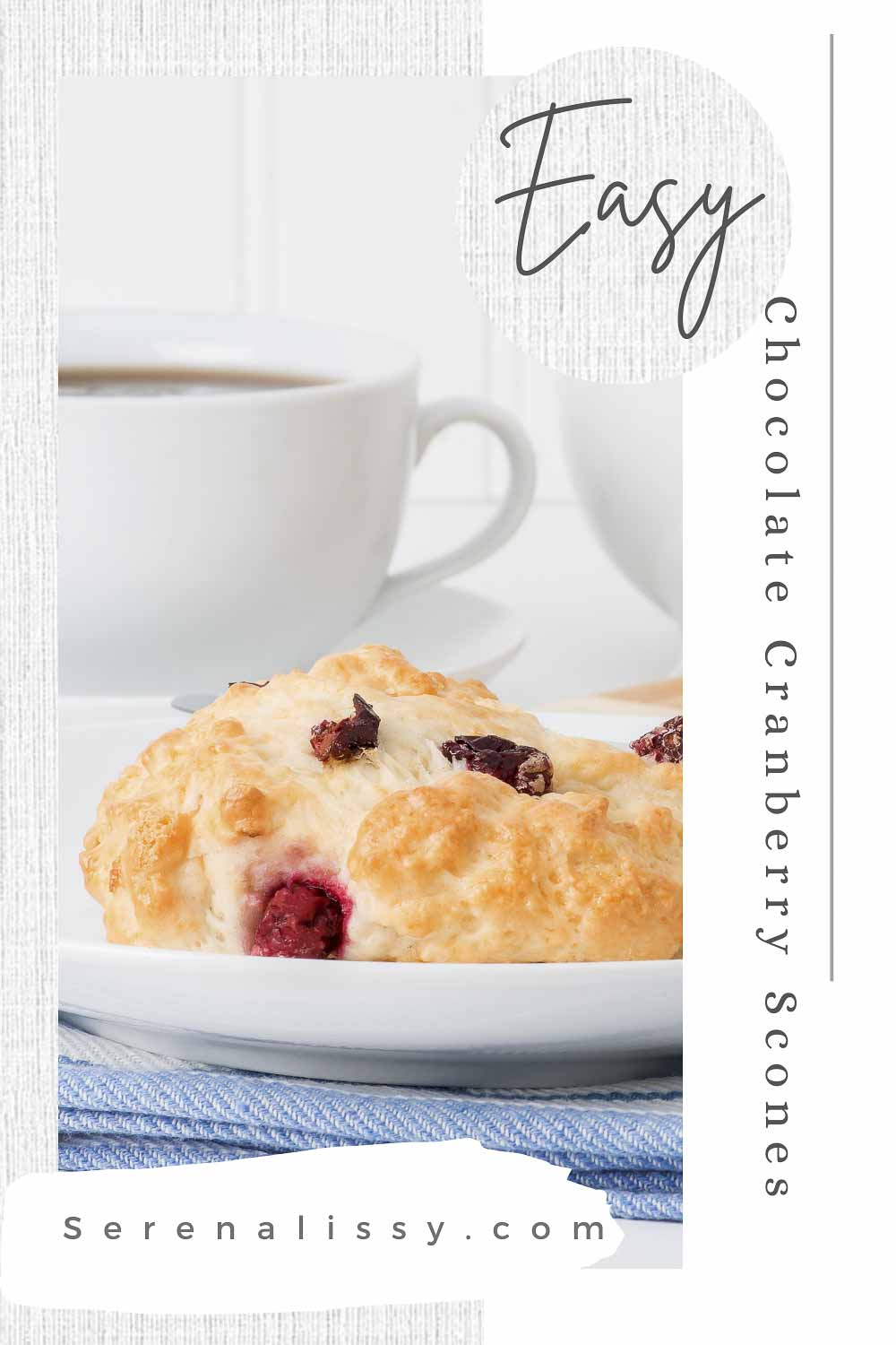 Cranberry Scone on a plate with coffee in background