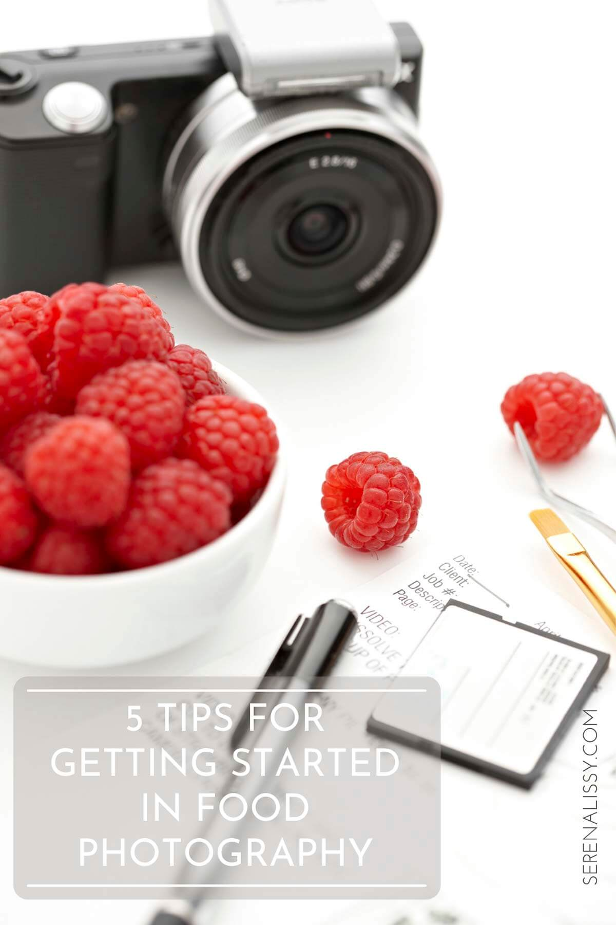 Raspberries and a camera on tabletop