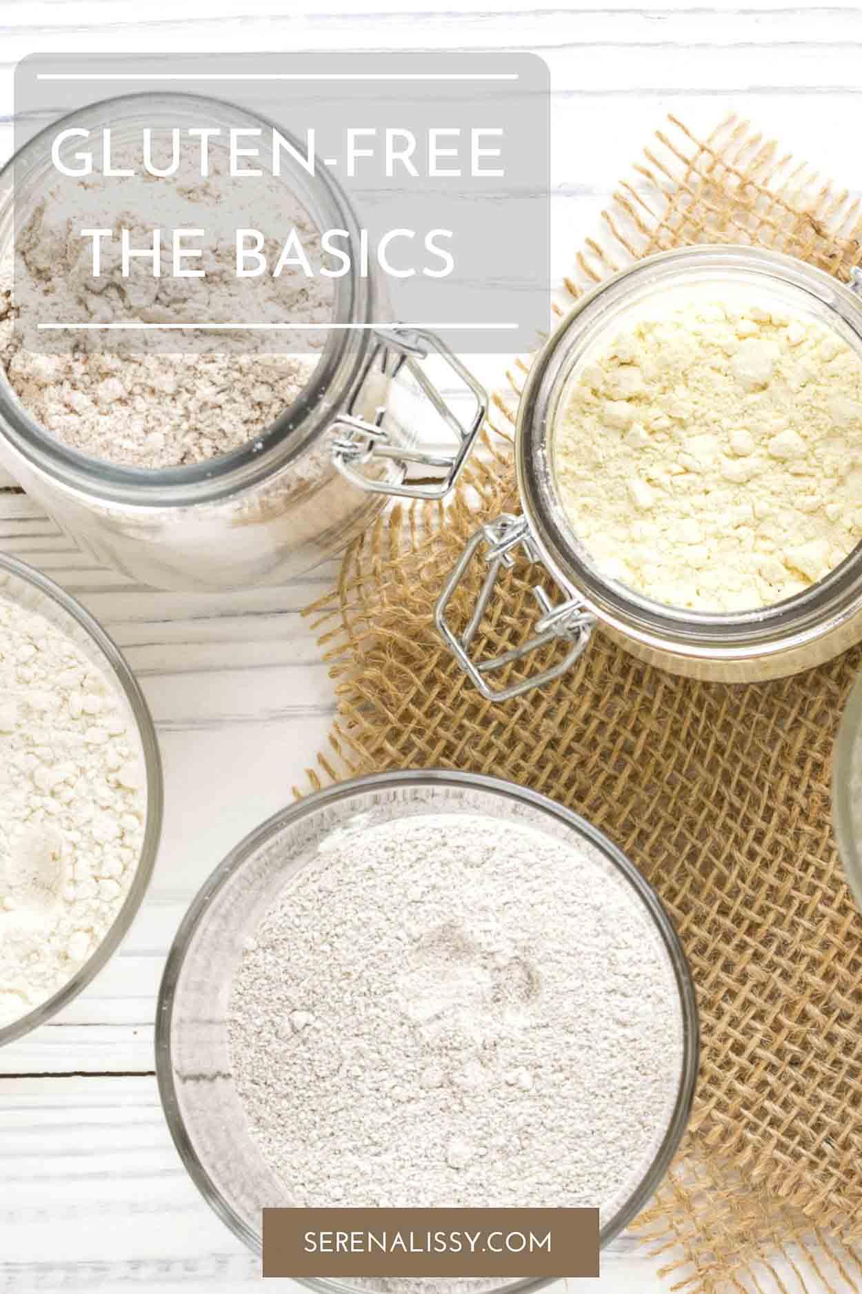 glass jars of gluten free flour