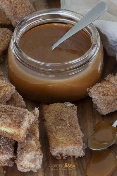 Salted Caramel Sauce in jar with brioche bites