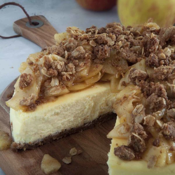 Apple Crumbe Cheesecake on Serving Dish