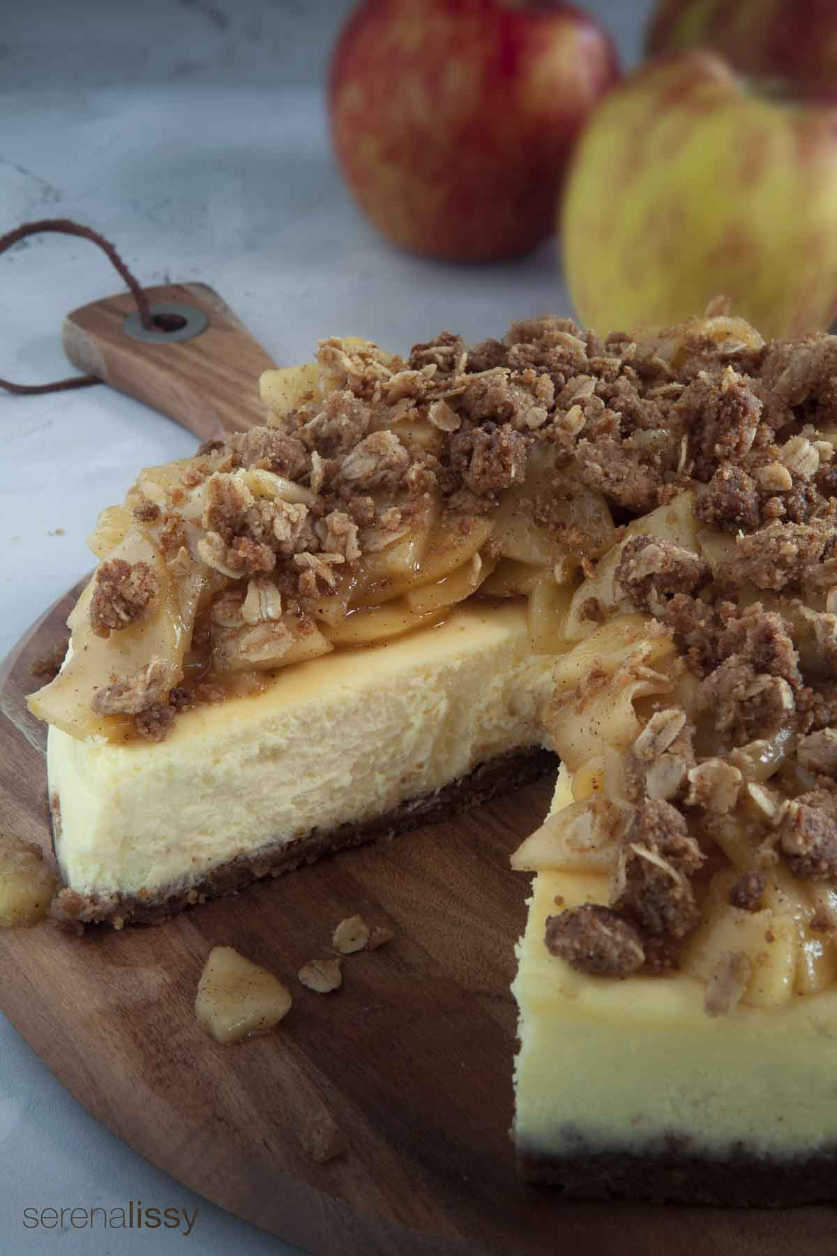 Apple Crumble Cheesecake on Serving Dish