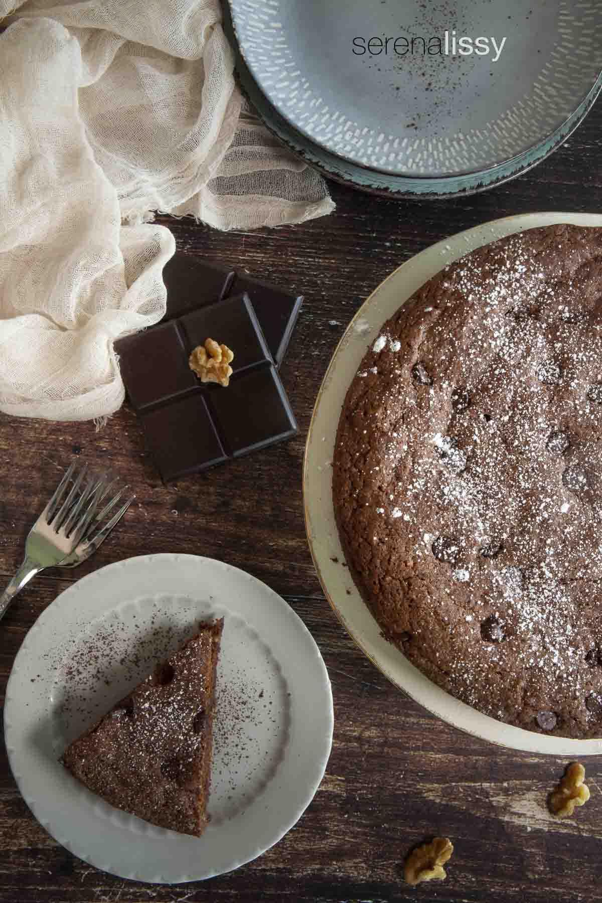Slice of Italian Chocolate Walnut Cake