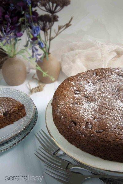 Italian Chocolate Walnut Cake on Cake Stand
