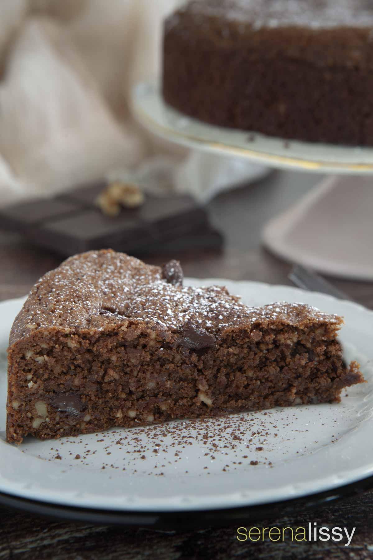 Slice of Chocolate Walnut Cake
