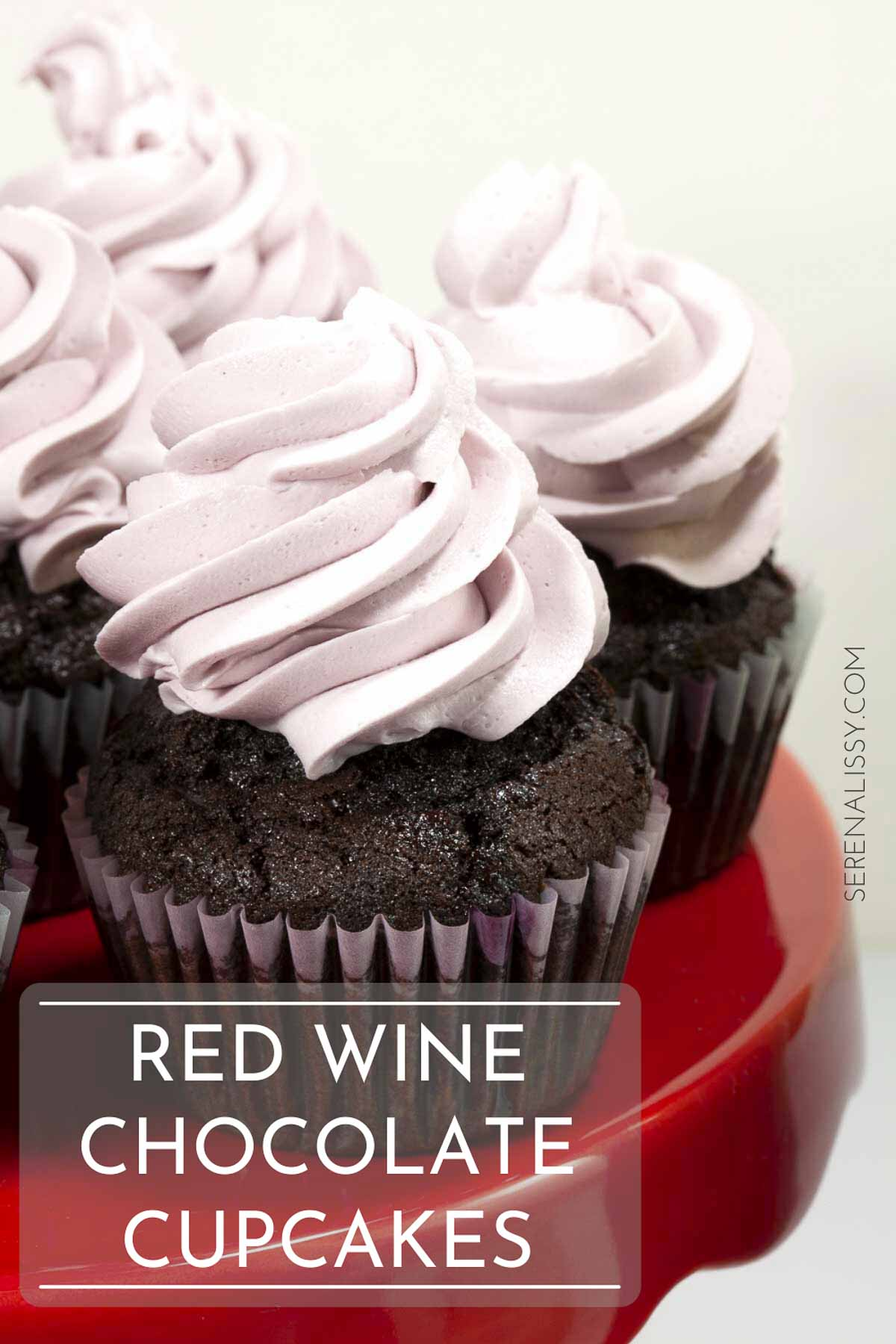 Red Wine Chocolate Cupcakes on Cake Stand