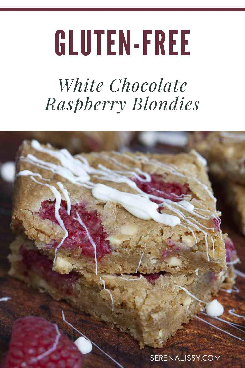 Two slices of Raspberry Blondies stacked on top of each other