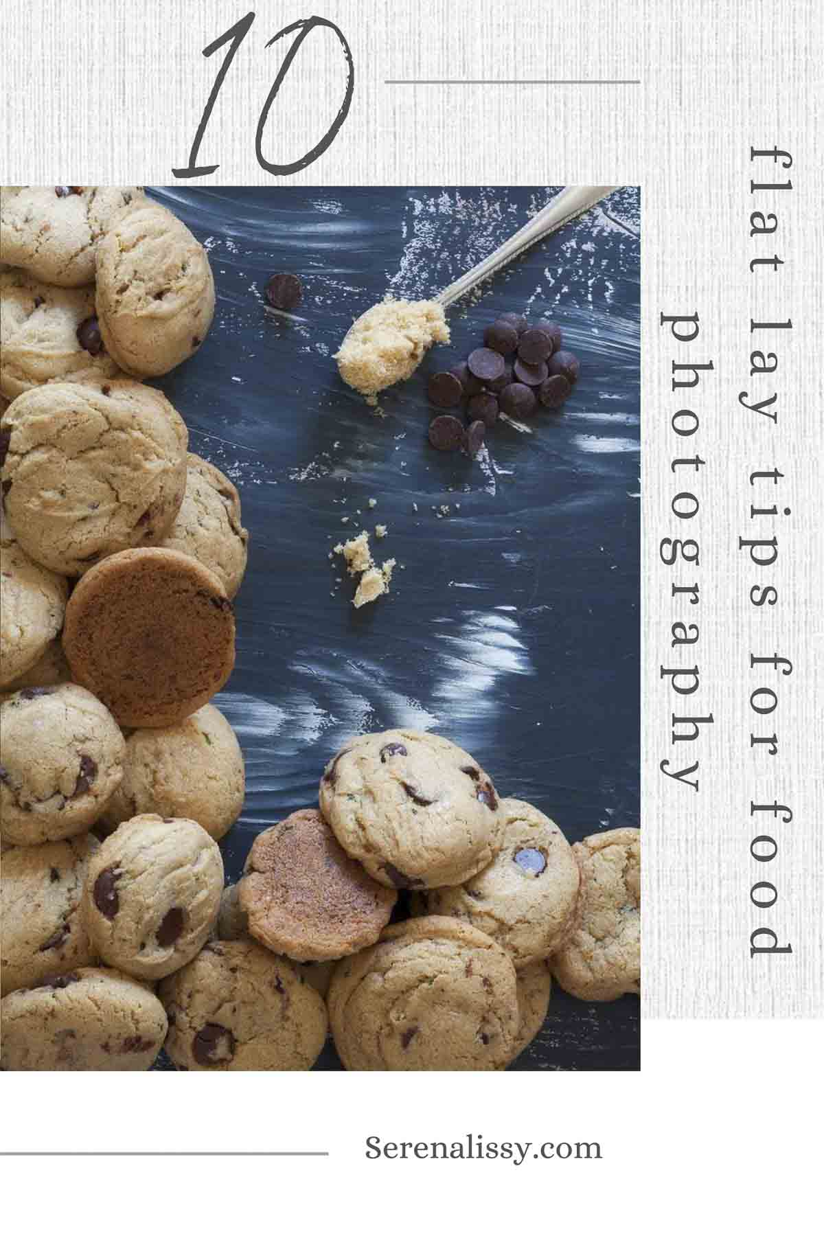 Stack of cookies photographed in flat lay style