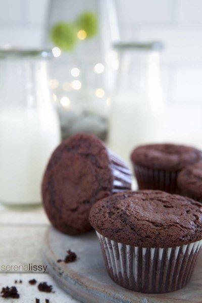 Three chocolate caramel muffins
