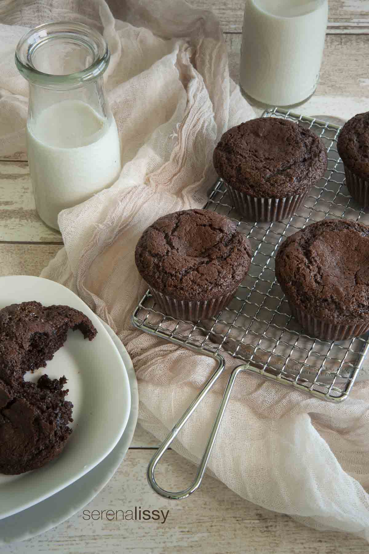 Chocolate Caramel Muffins On Cooling Rack
