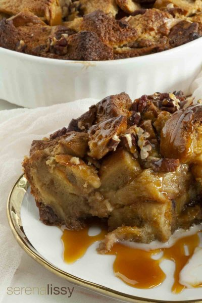 Pecan Pie Bread Pudding On A Plate