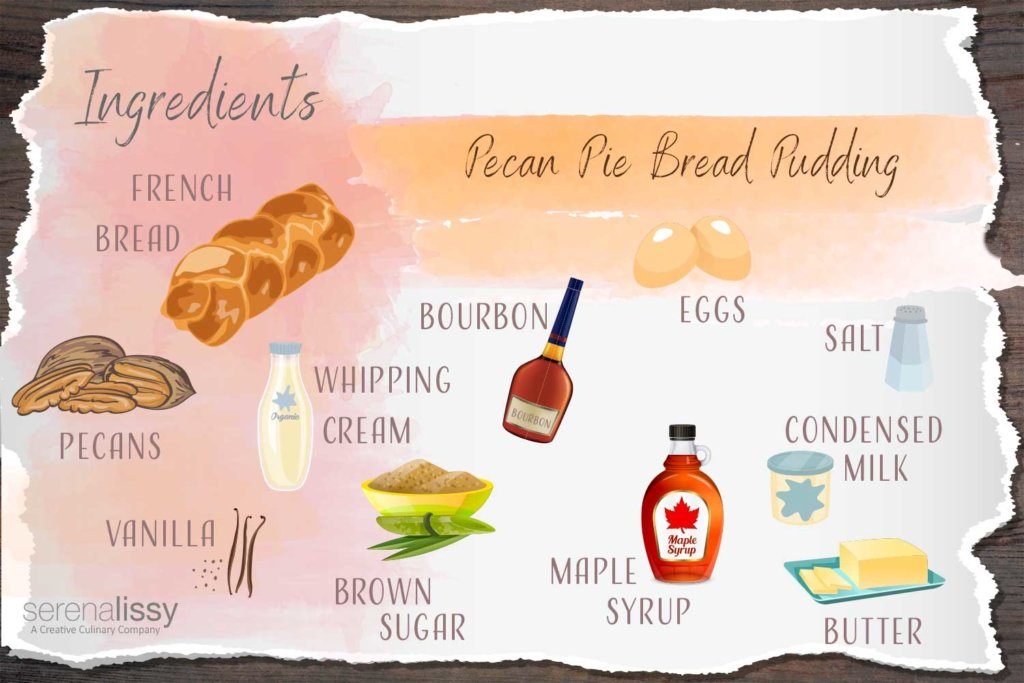 Ingredient Illustration for Pecan Pie Bread Pudding