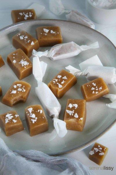 Apple Cider Caramels on a plate