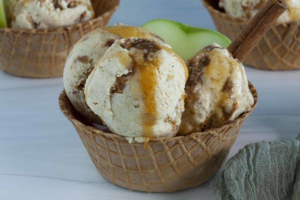 Apple Ice Cream in Waffle Cone Bowl