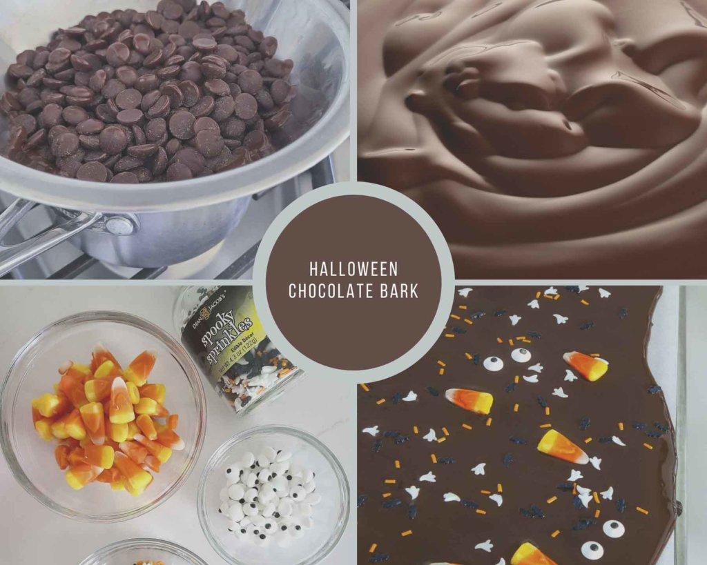 Halloween Chocolate Bark Process Collage
